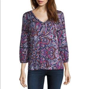 Liz Claiborne Purple Paisley Floral Blouse